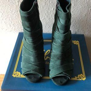 Green suede open toe zipper booties!